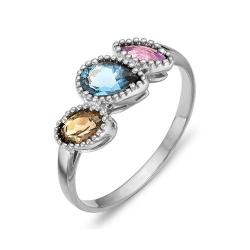 Кольцо из серебра с аметистом, раухтопазом, топазом