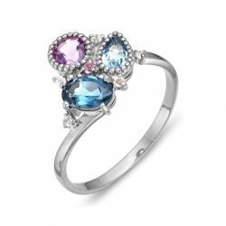 Кольцо из серебра с аметистами, топазами