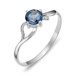 Кольцо из серебра с топазом, фианитом