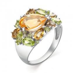 Кольцо из серебра с цитрином, хризолитами, султанитами
