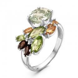 Кольцо из серебра с цитринами, хризолитами, аметистом, раухтопазами