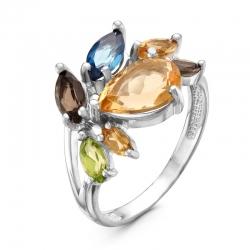 Кольцо из серебра с раухтопазом, топазом, хризолитом, цитринами