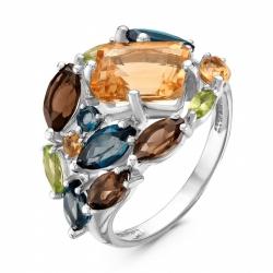 Кольцо из серебра с хризолитами, раухтопазами, цитринами, топазами