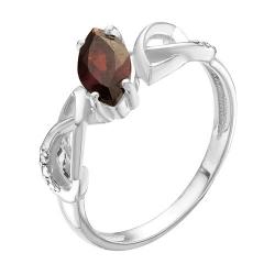 Кольцо из серебра с фианитами, гранатом