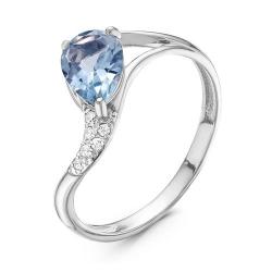 Кольцо из серебра с фианитами, топазом