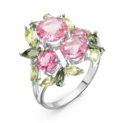 Кольцо из серебра с цветными камнями