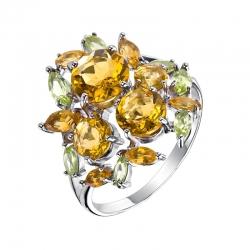 Кольцо из серебра с цитринами, хризолитами
