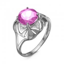 Кольцо из серебра с аметистом, фианитами