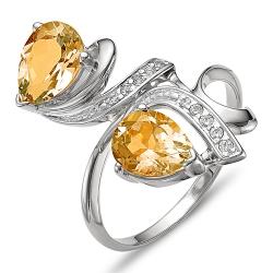 Кольцо из серебра с цитринами, фианитами