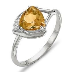 Кольцо из серебра с фианитами, цитрином