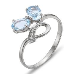 Кольцо из серебра с топазами, фианитами