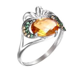 Кольцо из серебра с цитрином, фианитами