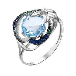 Кольцо из серебра с топазом, фианитами