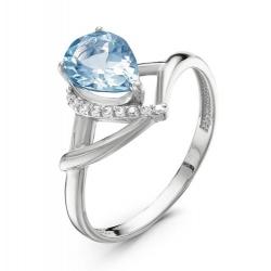 Кольцо из серебра с ювелирным стеклом, фианитами