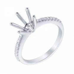 Оправа кольца из белого золота с бриллиантами