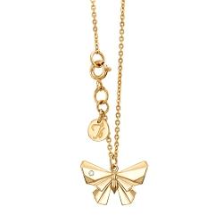 Колье Бабочка из желтого золота с бриллиантом