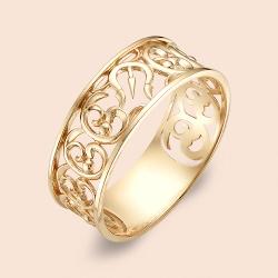 Кольцо обручальное Ажурное из красного золота