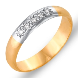 Кольцо обручальное из красного золота с бриллиантами
