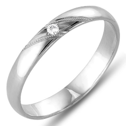 Кольцо обручальное из белого золота с бриллиантом