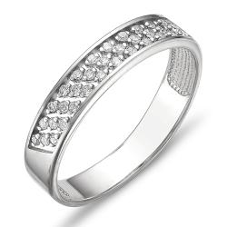 Кольцо обручальное из белого золота с бриллиантами