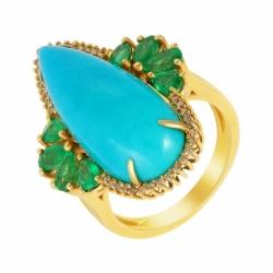 Кольцо из золота с бирюзой, бриллиантами и изумрудами