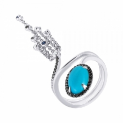 Кольцо из белого золота с бирюзой, бриллиантами, сапфирами и рубином
