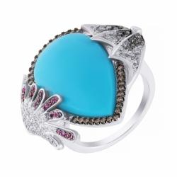 Кольцо из белого золота с бирюзой, бриллиантами и сапфирами (крылья)