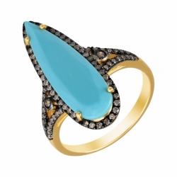 Кольцо из золота с бирюзой искусственной и бриллиантами
