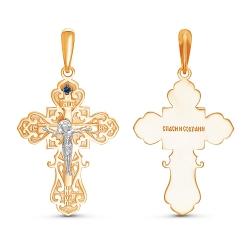 Подвеска-крест из красного золота с сапфиром