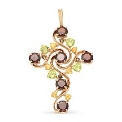 Крест из красного золота с гранатами, раухтопазами, хризолитами, цитринами
