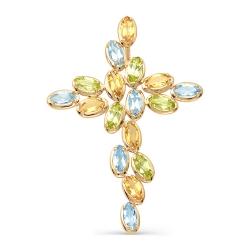 Крест из красного золота с топазами, цитринами, хризолитами