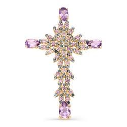 Крест из красного золота с аметистами, топазами