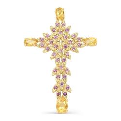 Крест из красного золота с аметистами, хризолитами, цитринами