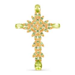 Крест из красного золота с цаворитами, хризолитами, цитринами