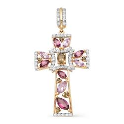 Крест из красного золота с фианитами, раухтопазами, аметистами, родолитами