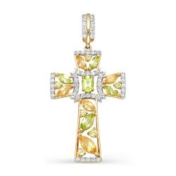 Крест из красного золота с фианитами, хризолитами, цитринами