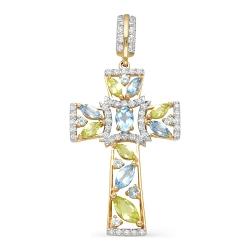 Крест из красного золота с фианитами, топазами, хризолитами