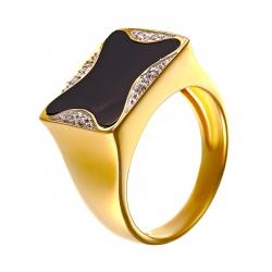 Кольцо из золота 585 пробы с бриллиантами и ониксом