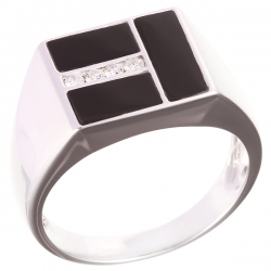 Кольцо из белого золота 585 пробы с ониксом и бриллиантами