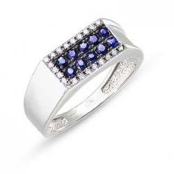 Мужское золотое кольцо c бриллиантами и сапфирами