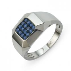 Мужское золотое кольцо c сапфирами