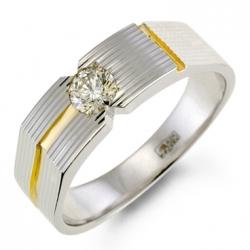 Мужское кольцо из белого золота c бриллиантом