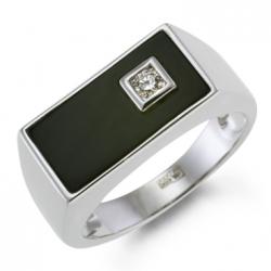 Мужское кольцо из белого золота c бриллиантом и ониксом