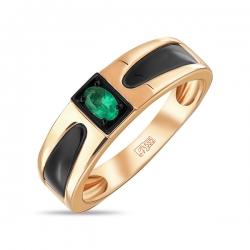 Мужское золотое кольцо c изумрудом и ониксами