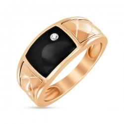 Мужское золотое кольцо c бриллиантом и ониксом