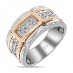 Мужское кольцо из комбинированного золота c бриллиантами