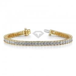 Золотой классический браслет с муассанитами принцесса