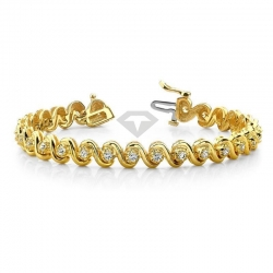 Золотой теннисный браслет из желтого золота с муассанитами и звеньями буквой «S»