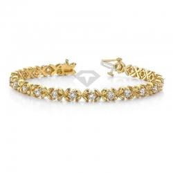 Винтажный браслет из желтого золота с муассанитами