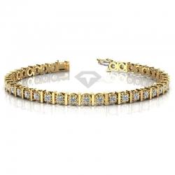 Теннисный браслет из желтого золота с муассанитами
